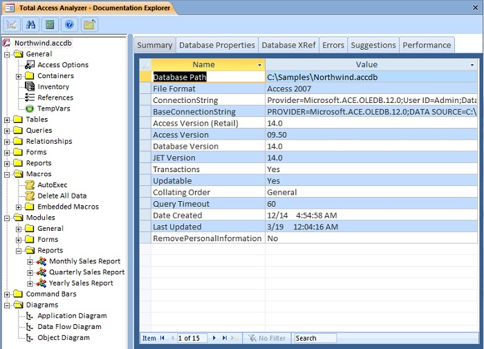 Microsoft Access Database Documentation Results in Total Access Analyzer's Documentation Explorer