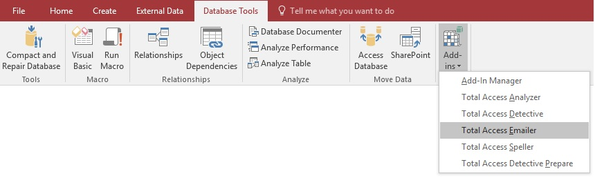 Microsoft Access Add-in Menu for Total Access Emailer