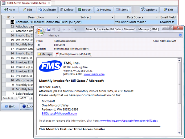 Microsoft Access Email with Total Access Emailer from FMS
