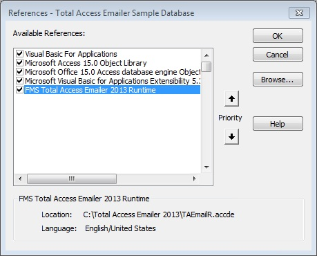 Library Reference to Total Access Emailer