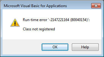 Class not registered Run-time error -2147221164 (80040154)