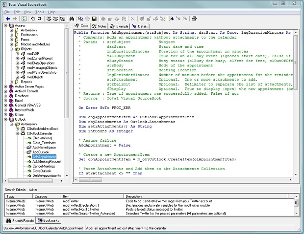 Easily find the VBA/VB6 sourced code you need from the Code Explorer