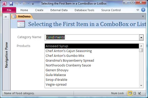 Select the first item in a Microsoft Access combo box