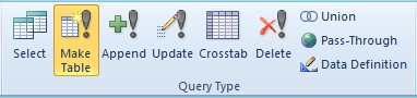 Microsoft Access Make Table Query to Create a New Table